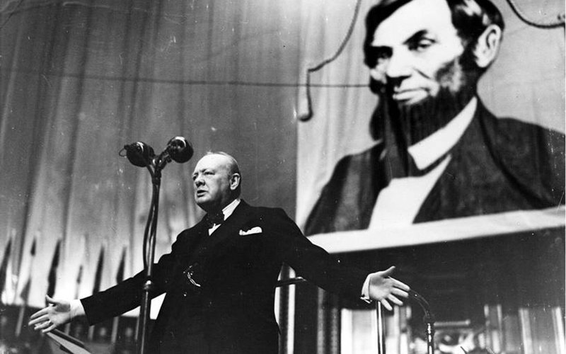 Churchill speaking at the Albert Hall in London, 1944, at an American Thanksgiving Celebration.  Churchill Centre image