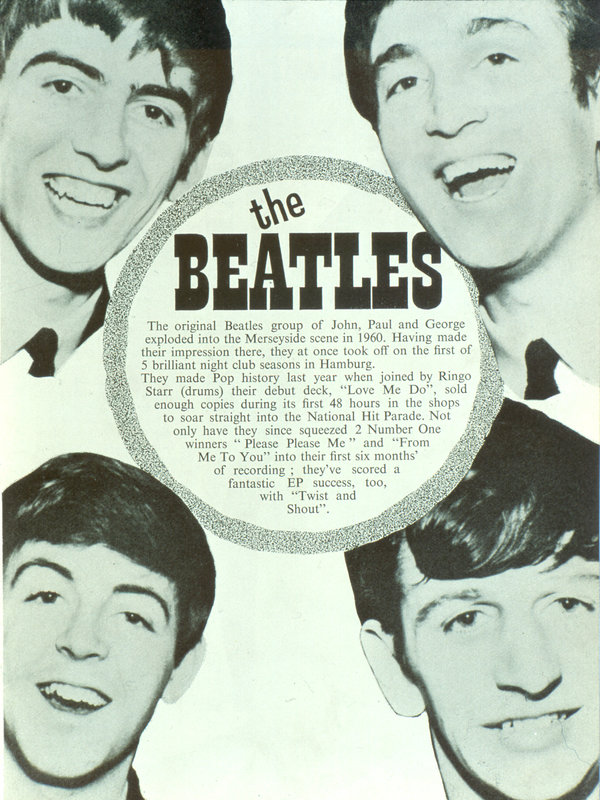 The Beatles in the programme for The Great Pop Prom)