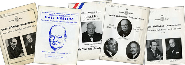 Programme covers from some of Churchill's speeches at the Hall