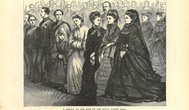 Queen Victoria, still in mourning, at the opening of the Hall in 1871