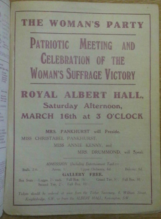 Programme from Celebration of the Women Suffrage Victory event)
