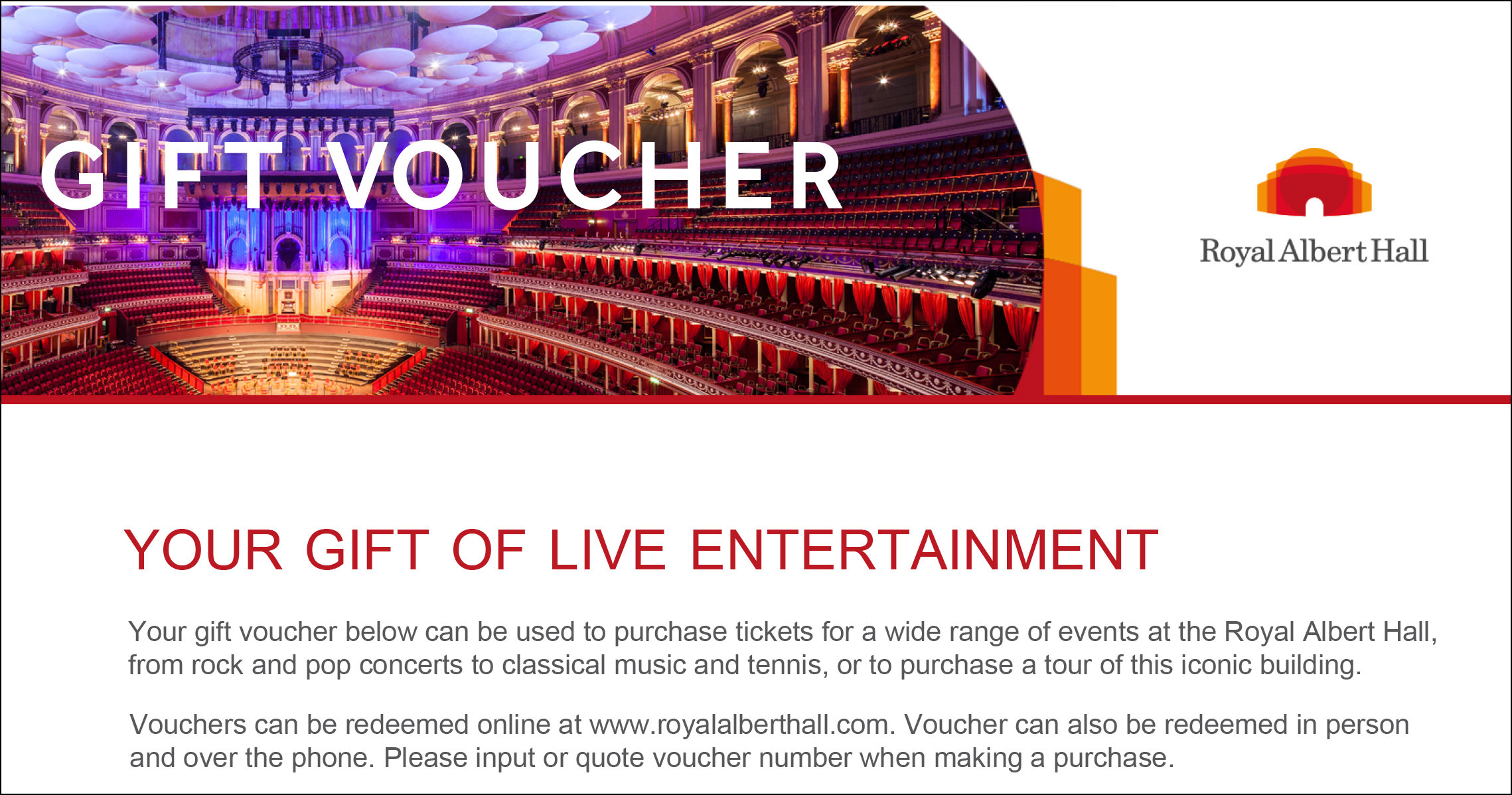 gift vouchers  u2014 royal albert hall